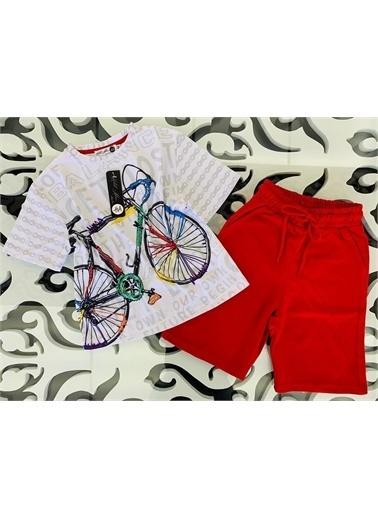 Hilal Akıncı Kids Erkek Çocuk Bısıklet Baskili Tışört Renklı Şort Ikılı Takim Kırmızı